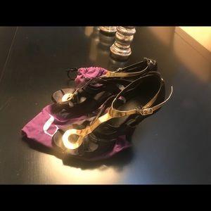 Burju black and gold stiletto dance shoes